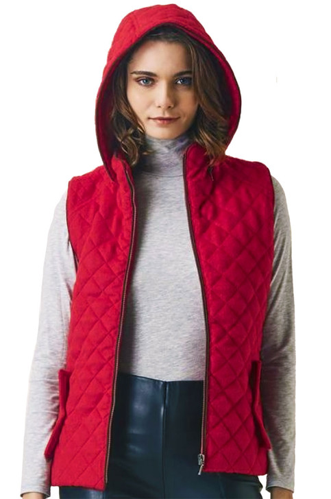 Women's Alpaca Blend Quilted Vest with Removable Hood By Inca Fashions Front Close up Main