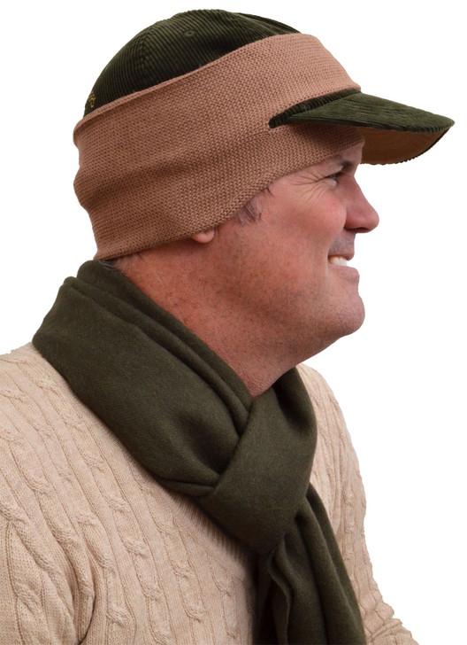 Alpaca ball cap ear warmer Side View - Camel