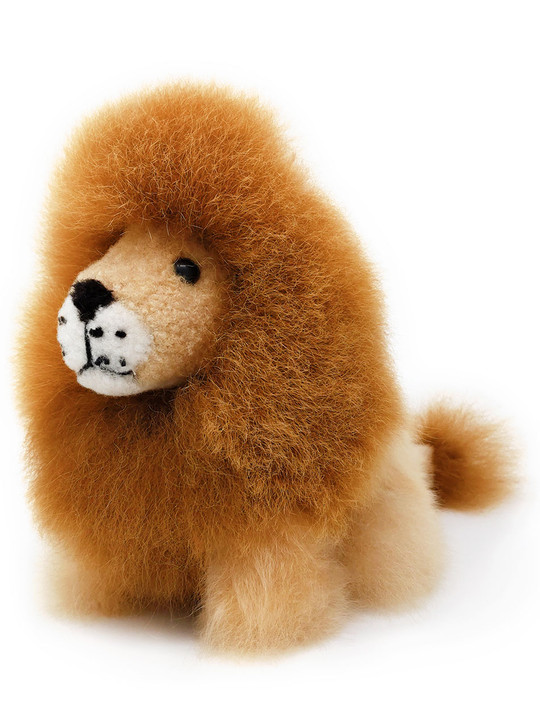 Inca Fashions Alpaca Fur Stuffed Animal Lion - Linus - Front