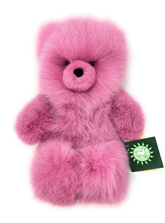 Classic Alpaca 100% Baby Alpaca Wool Fur Teddy Bear in fun Colors - Pink Sitting