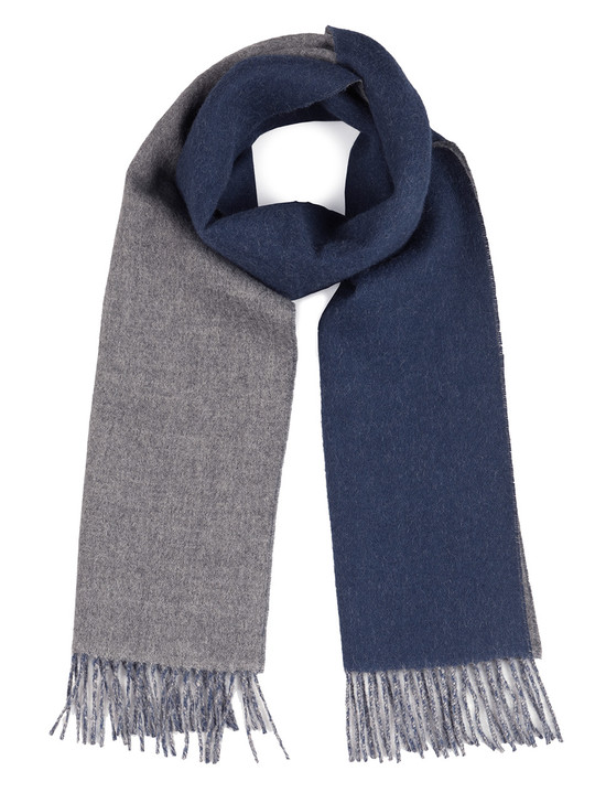 """100% Baby Alpaca  Wool Two Sided """"Double Face"""" Scarf  Navy / Grey"""