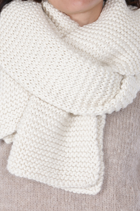 Extra Long Olsen Hand Knit Baby Alpaca Wool Scarf Style 1 Detail