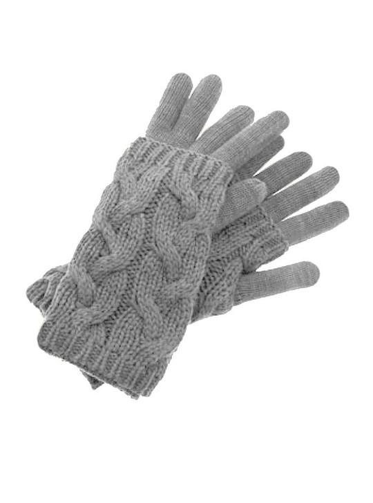 Cable Knit Gloves & Cozy Set 100% Alpaca Wool Felt Gray Set
