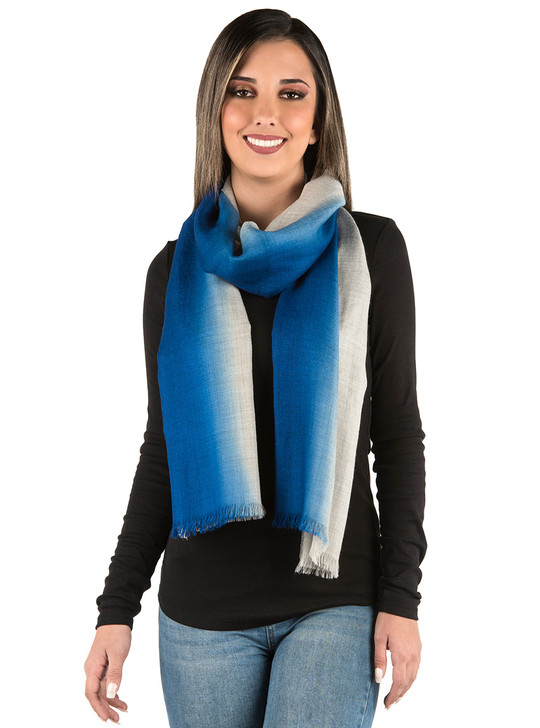 Ombre Stripe Oversized Scarf / Shawl in Grey Baby Alpaca Wool & Silk - Grey-Azure on Model Looped