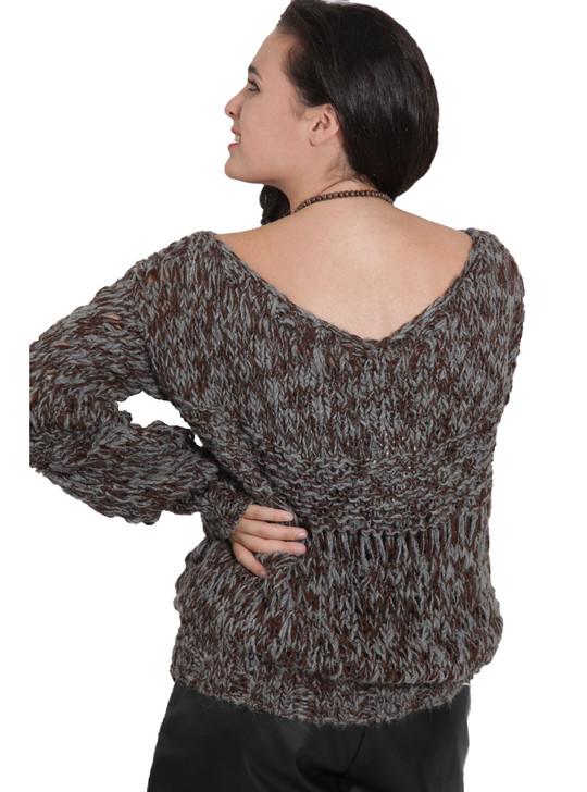 Amberson Alpaca Pullover V-Neck Back