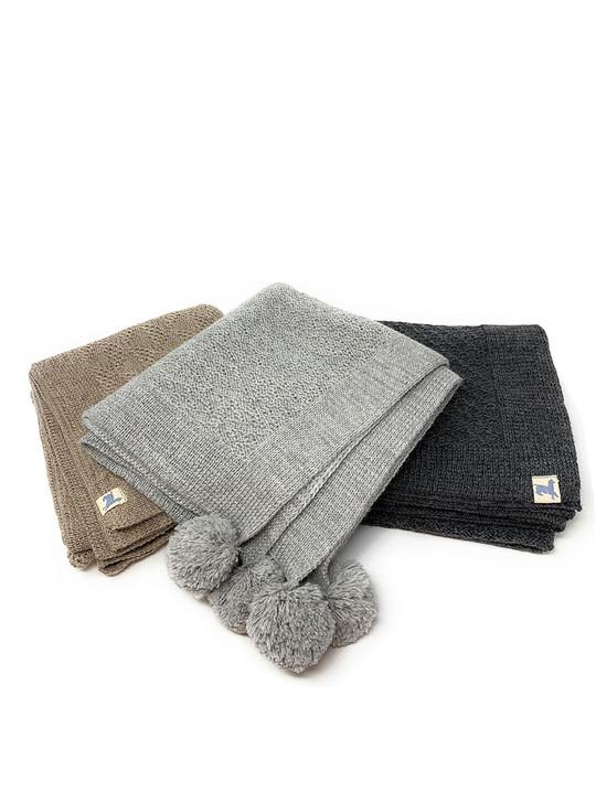 Knit Baby Blankets with Pom Pom Tassels in 100% Baby Alpaca All Styles