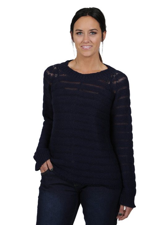 Heavenly Alpaca Sweater Striped Navy Front