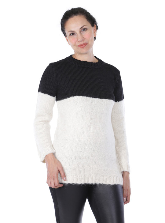 Edie Colorblock Pullover in Alpaca Wool Blend Front on Model