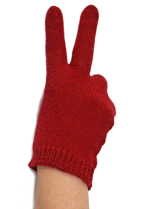Ladys Baby Alpaca Jersey Knit Gloves Lets give peace a chance!