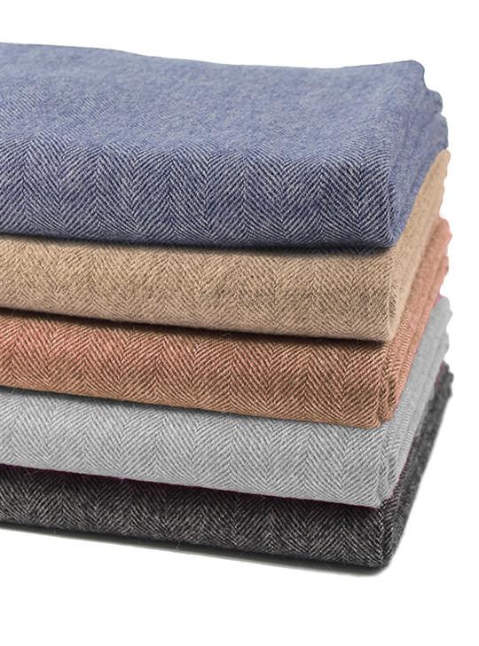 100% Baby Alpaca Wool Herringbone Throw Blanket Stack