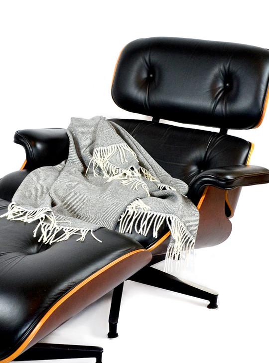 100% Baby Alpaca Monopoly Throw Blanket on Eames Lounge