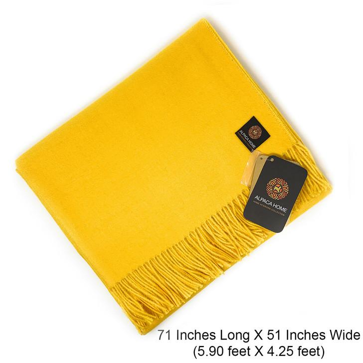 100% Baby Alpaca Wool Throw Blanket - Classic Solid Size