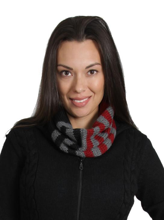 Women's Baby Alpaca neck cowl scarf On model - Cranberry / Black / Cinder