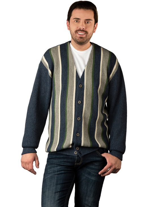 Striped Alpaca Button Down Cardigan Variegated Stripes - Front on Model