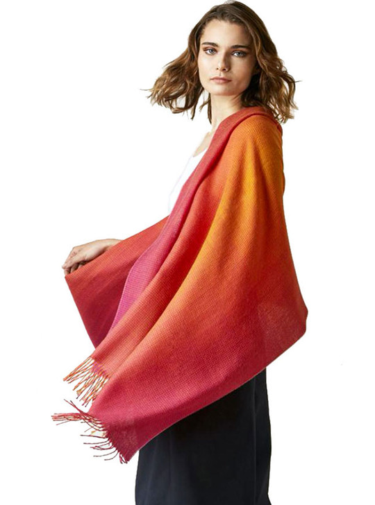 Women's Celestial Ombre Wrap in 100% Baby Alpaca Wool On Model