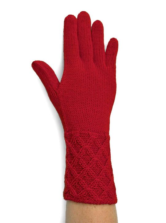 Women's Basket Weave 100% Alpaca Wool Gloves On Hand
