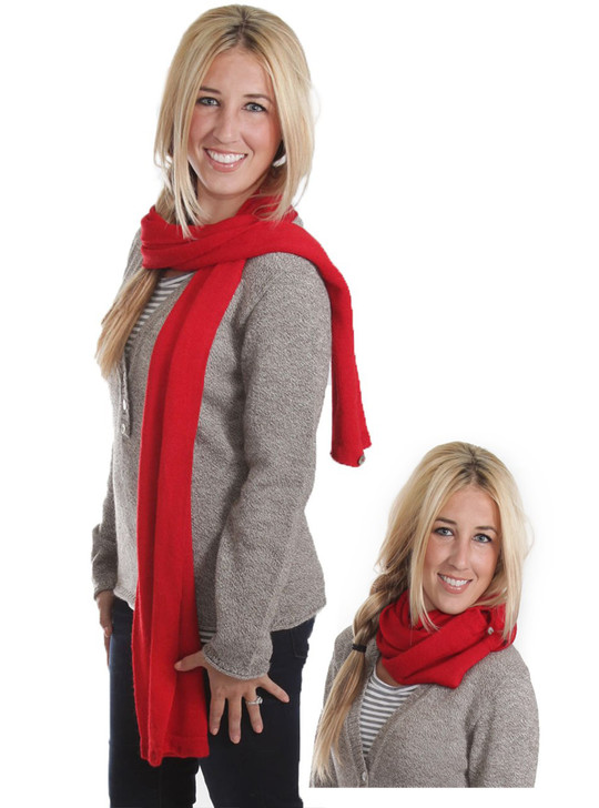 100% Baby Alpaca Wool 2-in-1 Convertible Knit Infinity Circle Scarf for Men and Women conversion shown.