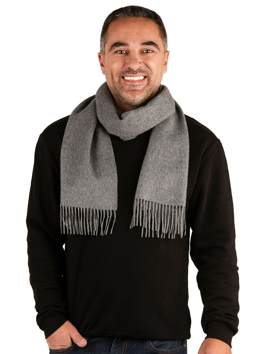 Men's Premium 100% Baby Alpaca Wool Scarf  On Model Casual