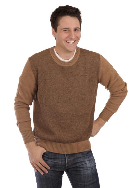 Men's Vintage Crew Neck Alpaca Sweater  On Model - Front - Brown