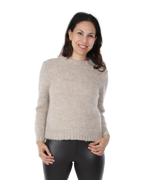 Hepburn Pullover in 89% Alpaca Wool & 11% Polyester Blend Front on Model