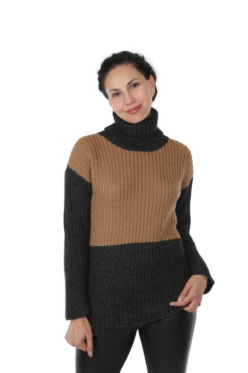 Lydia Colorblock Turtleneck in 100% Baby Alpaca Wool Front on Model