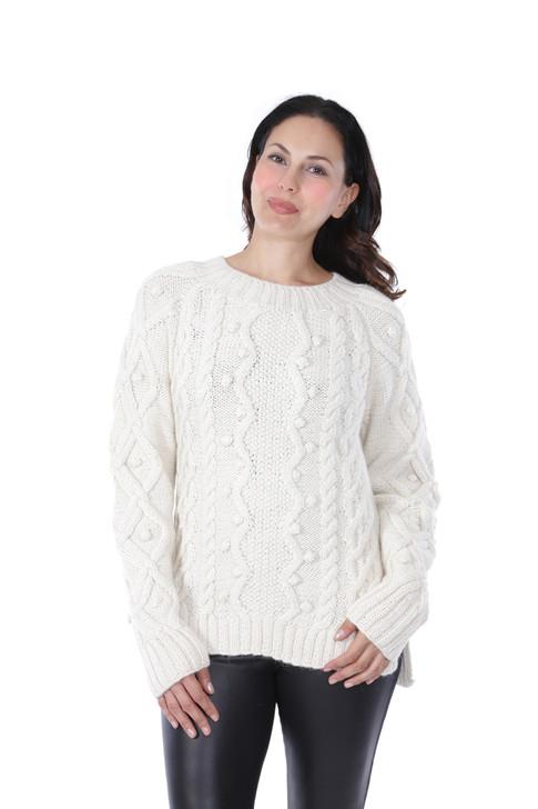 Olivia Aran Crewneck Alpaca Wool Sweater Front on Model