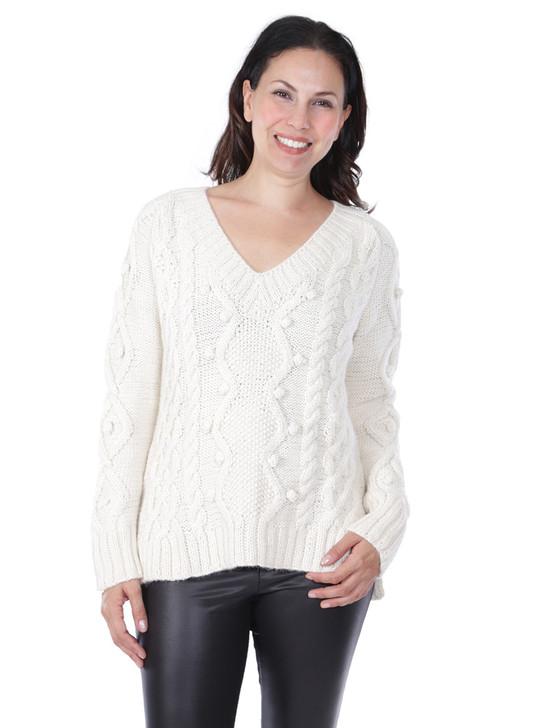 Olivia Aran V-Neck 100% Alpaca Wool Pullover Front View