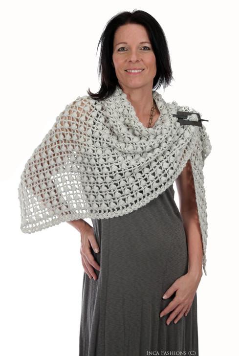 Rai Hand Crochet Triangle Shawl Front