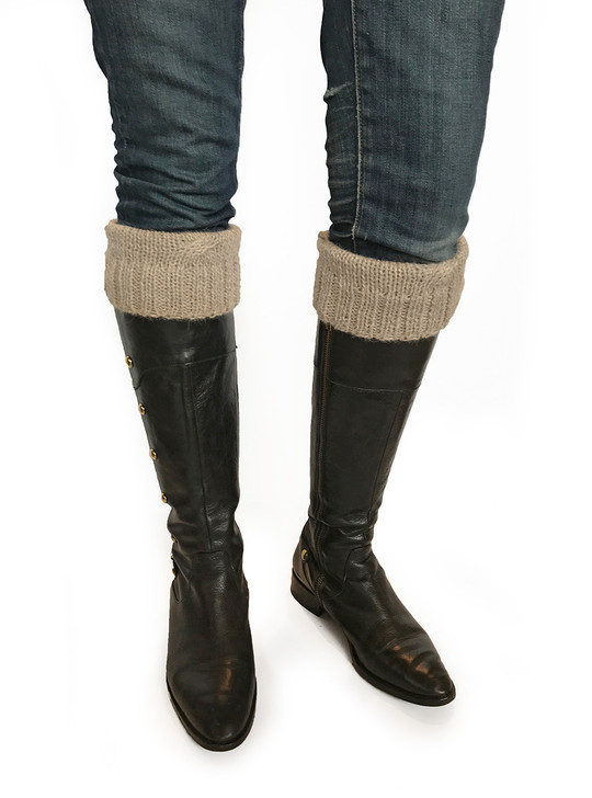 Boot Cuff Folded over boots Heather Brown