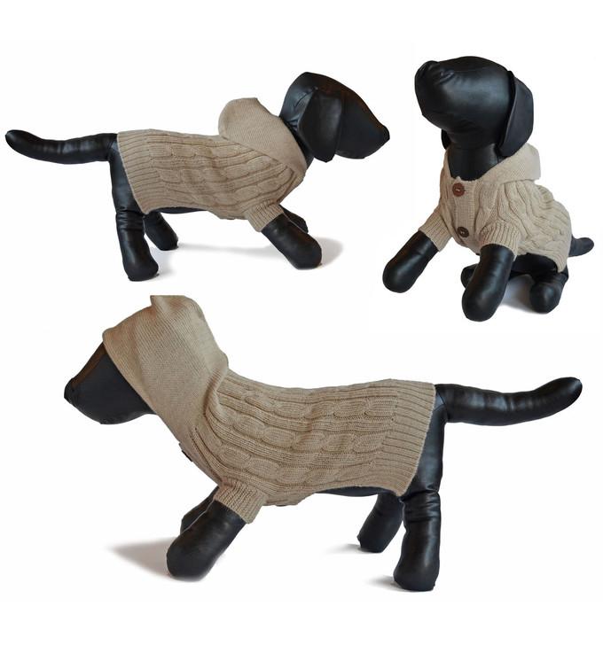 Aran Fisherman Style Hooded Cardigan Alpaca Dog Sweater Main