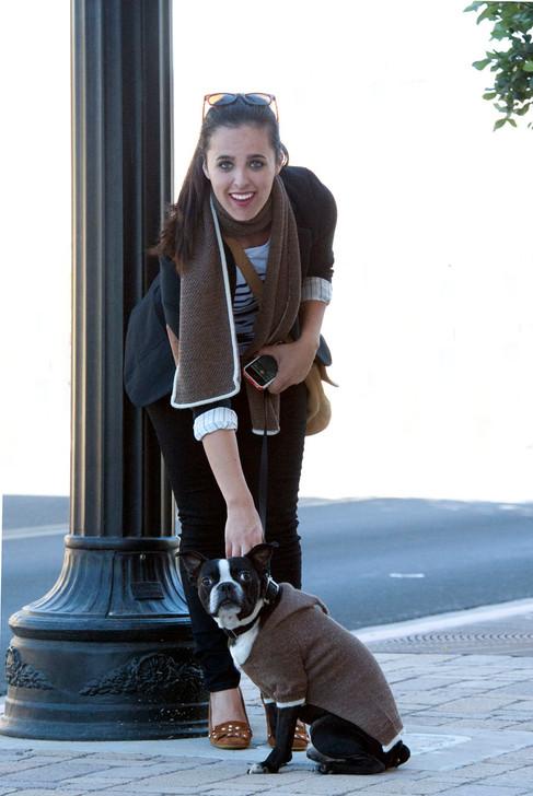 Hooded Jersey Raglan Sleeve Alpaca Wool Dog Sweater & Scarf On models