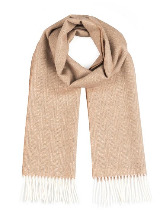 Herringbone 100% Baby Alpaca Wool Scarf Camel Flat