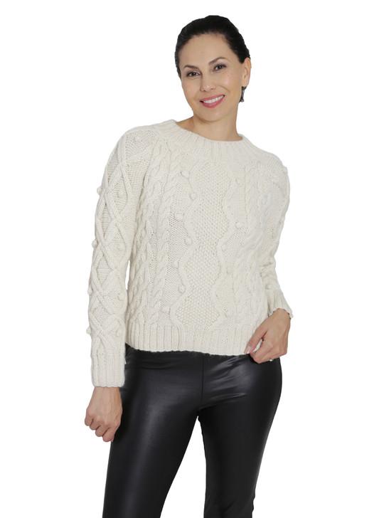Olivia Aran Cropped 100% Alpaca Wool Sweater  Front on Model