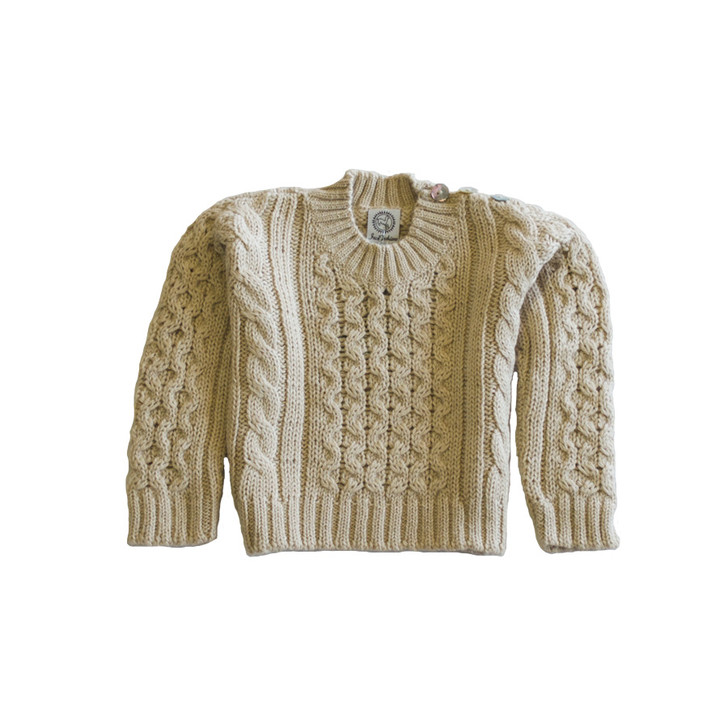 Boy's Cable Knit Crew Neck Pullover In Cream