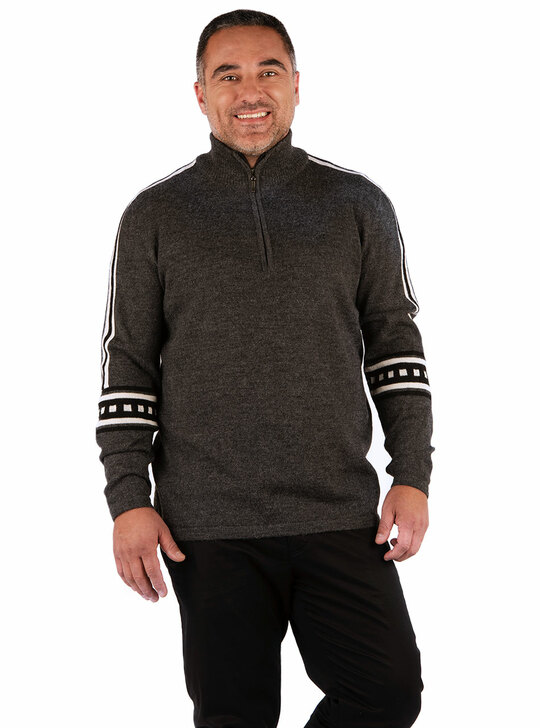 Men's West Point Baby Alpaca 1/4 Zip Pullover Sweater Front on model