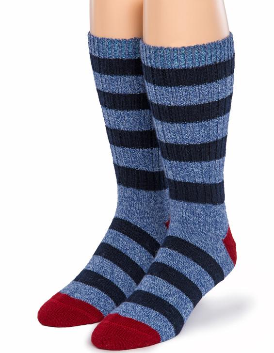 Old School Vintage Striped 100% Alpaca Wool Socks - Front