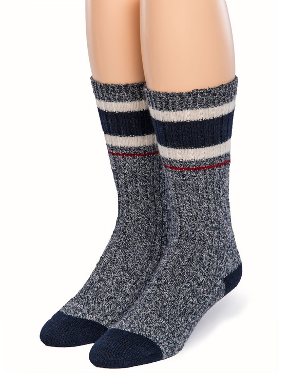 Old School Athletic Striped 100% Alpaca Wool Socks - Front