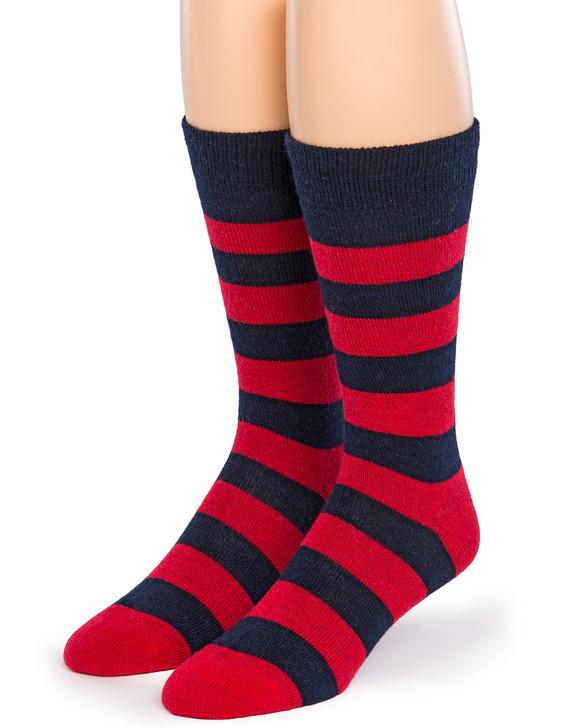 Rugby Striped Crew 100% Alpaca Wool Socks - Front