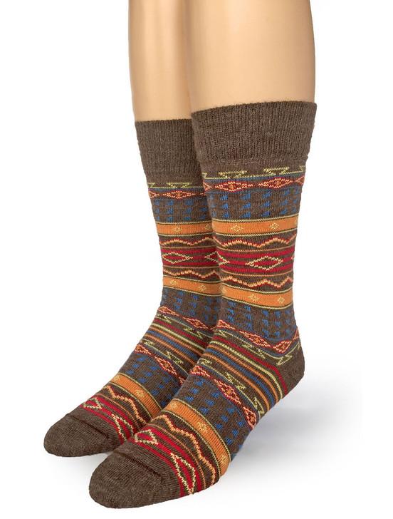 Tribal Fancy Pattered 100% Alpaca Wool Socks Front