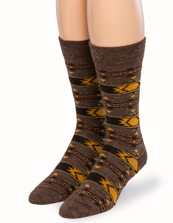 Indian Crew Fancy Patterned Socks in 100% Alpaca Wool Front