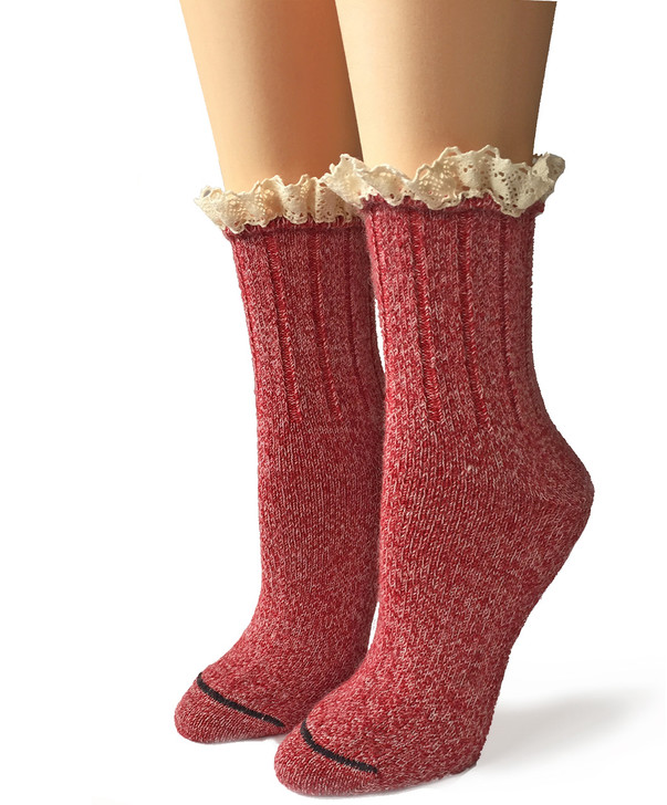 Lace Trimmed Heatherd 100% Alpaca Wool Boot Socks Front