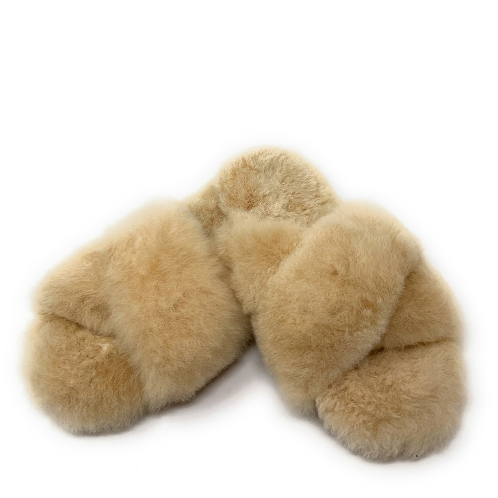 Alpaca Fur Criss-Cross Top Slippers  Fawn
