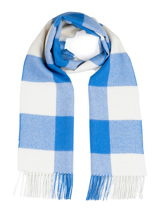Women's Buffalo Check Plaid 100% Baby Alpaca Scarf  in Blue and White  Looped