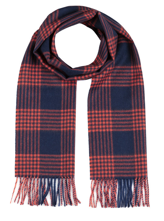 Hashtag Plaid 100% Baby Alpaca Wool Scarf - Navy & Red
