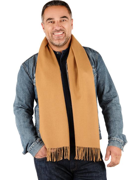 Solid 100% Alpaca Wool Scarves Camel on Man