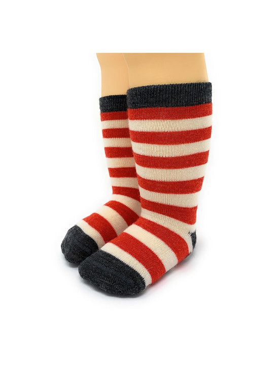 Striped Toddler  100% Alpaca Wool Socks  - Non-Skid Front View