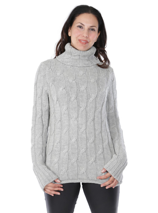 Phoebe Cable Turtleneck in 100% Baby Alpaca Wool Thumbnail