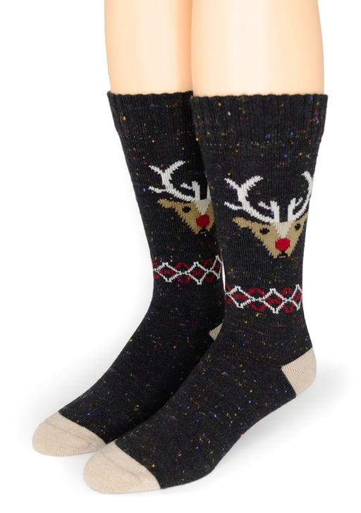 Reindeer Holiday Crew Alpaca Wool & Merino Wool Socks Toe