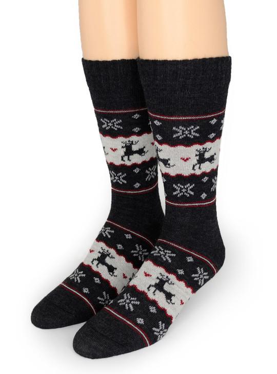 Fair Isle Reindeer Crew 100% Alpaca Wool Socks  Toe