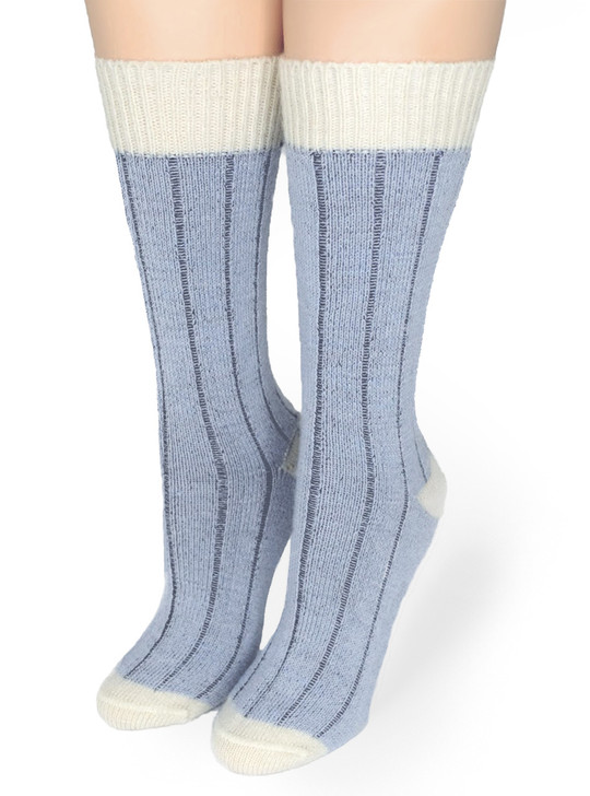 Color Block Comfort Socks made with 100% Baby Alpaca Wool - blue/white Front